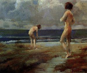 Badende am Nordseestrand, 1910 (Rudolf Yelin d. Ä., 1864–1940)